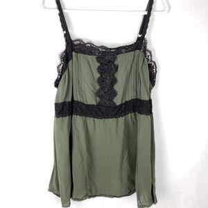 Torrid Camo Green & Black Lace Tank top